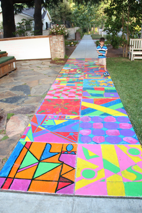 Here's the finished product of our campers' painting on our sidewalk.  Cool, eh?