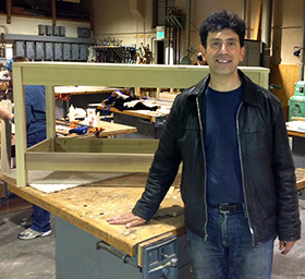 Here I am at my adult ed woodworking class, in front of the work bench I made for my boys.