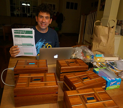 Here I am one evening preparing four out of those five Quest Boxes for Huntopoly the next morning.