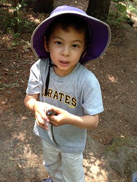 Here's Nico with the newt he caught one day at a creek.  He learned a tremendous amount that day about newts and the ecosystem that surrounds them.