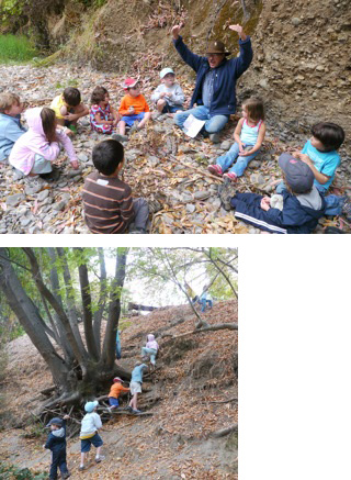 Paul Heiple of Acterra talking to our campers (top) and the campers climbing the creek bank on their own (above).