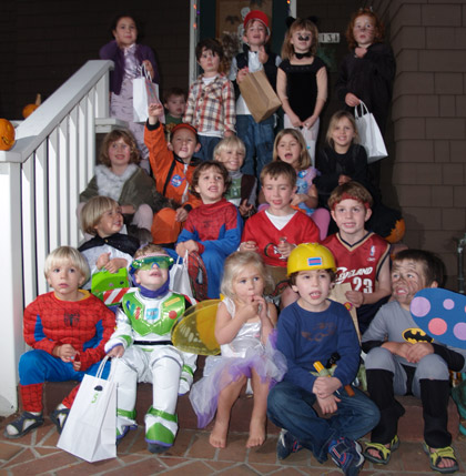 Children from Simon's most recent Halloween party.