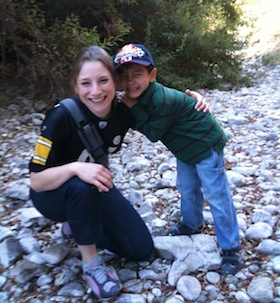 That's my niece Andrea and son Marco in the bed of the San Francisquito Creek, a few hundred yards west of El Camino Real.