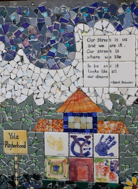 Our front yard mosaic has the following quote from The Big Orange Splot: 'Our Street is us and we are it. Our street is where we want to be and it looks like all our dreams.'