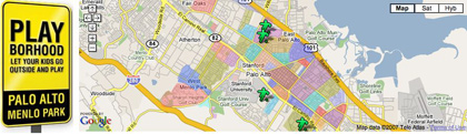 Playborhood Local sites feature a large interactive map in the header.