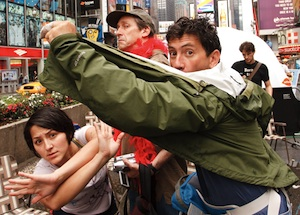 That's me on the right at the 2009 Come Out and Play Festival in Times Square, New York, playing 'Paparazzi.' What fun!!!  photo: Guy Chan