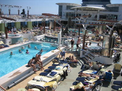 Our cruise ship's pool has become my son Marco's most fertile social atmosphere in just one week.
